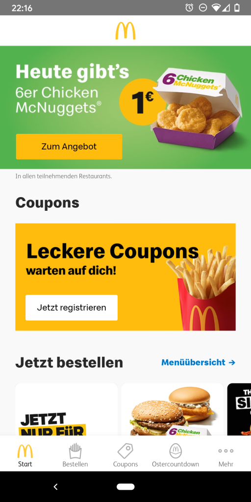 Startbildschirm der McDonald's App