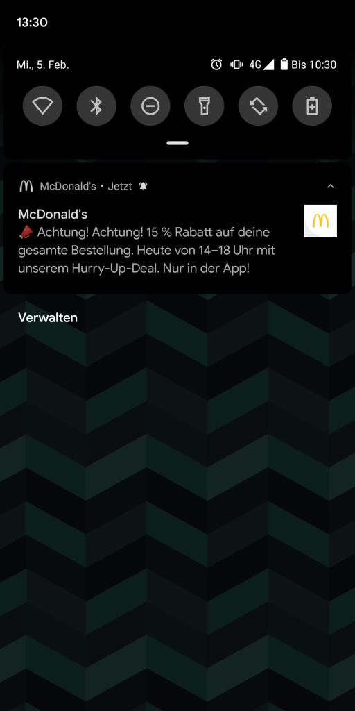 Push Notification aus der McDonald's App