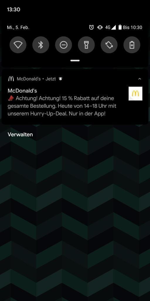 Push Notification aus der McDonald's App