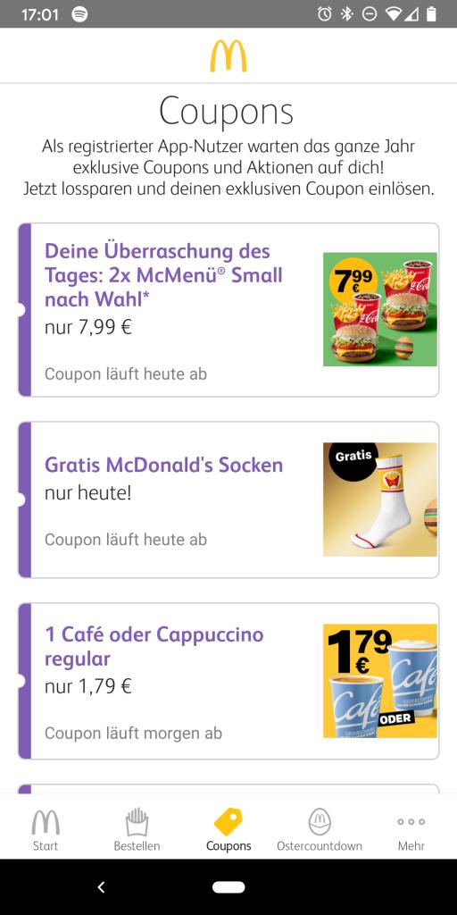 Screenshot der Gutscheine in der McDonald's App